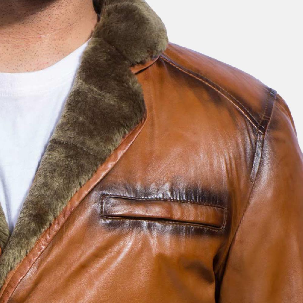 Mens Rocky Brown Fur Leather Coat 5
