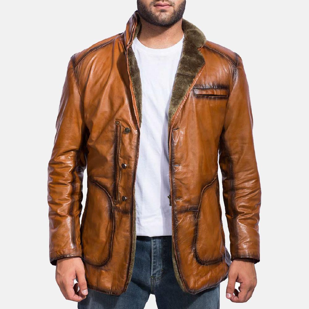 Mens Rocky Brown Fur Leather Coat 1