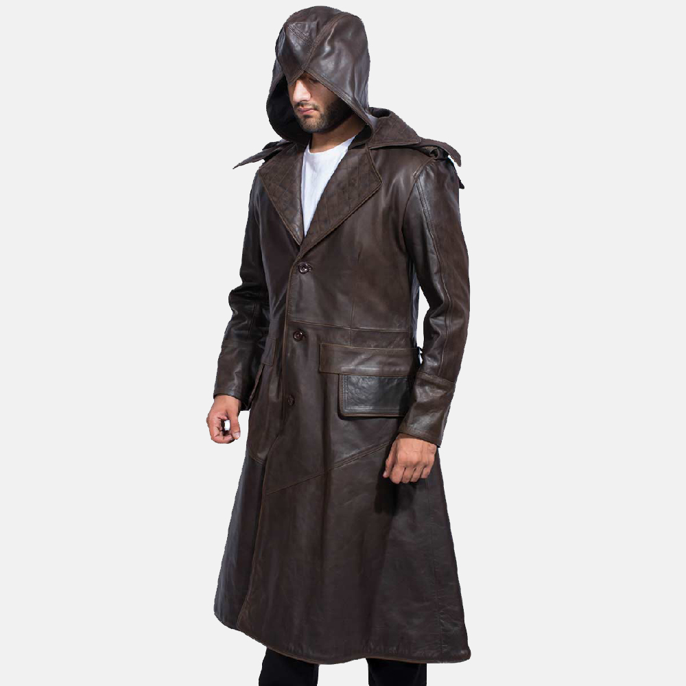 Mens Sledgehammer Brown Leather Trench Coat 2