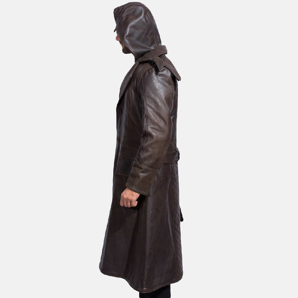 Mens Sledgehammer Brown Leather Trench Coat 6