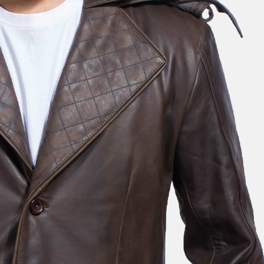Mens Sledgehammer Brown Leather Trench Coat 7