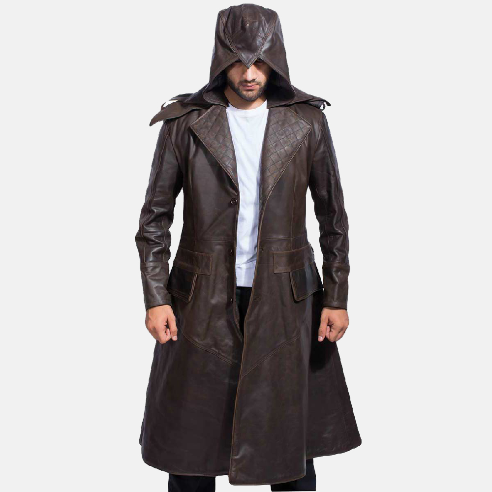 0069600aa Sledgehammer Brown Leather Trench Coat