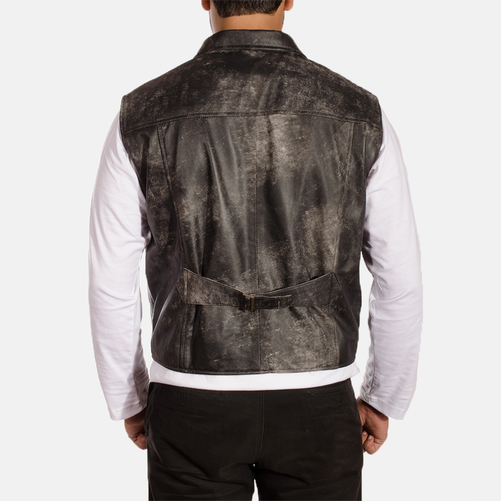 Mens Solaride Distressed Leather Vest 3