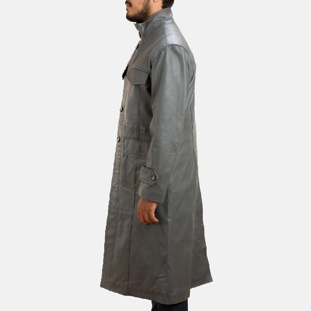 Mens Steel Silver Leather Long Coat 4