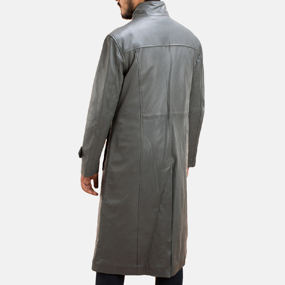 Mens Steel Silver Leather Long Coat 5