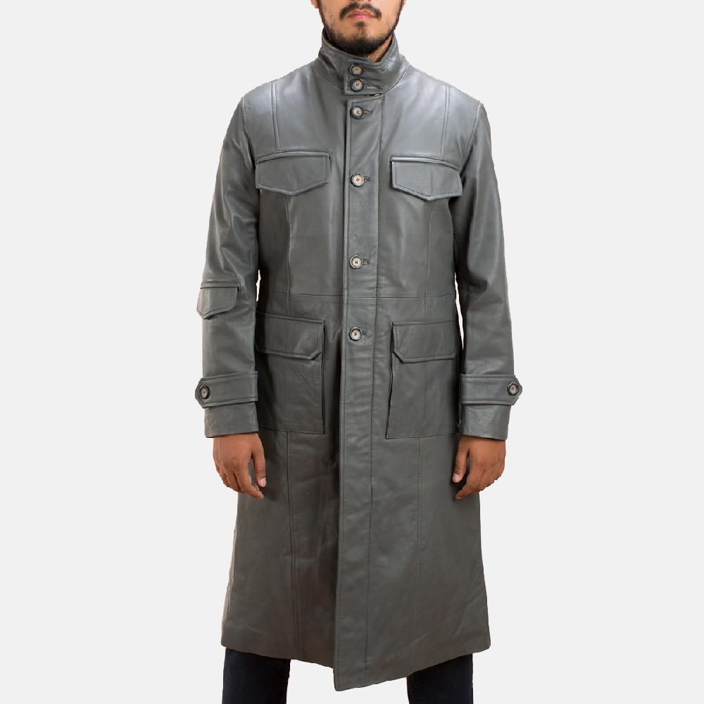 Mens Steel Silver Leather Long Coat 2