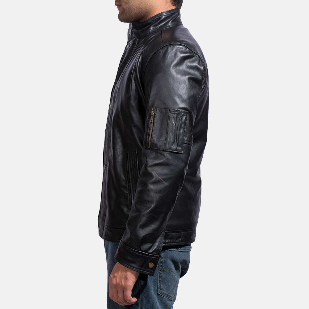 Mens Tea House Black Leather Jacket 4