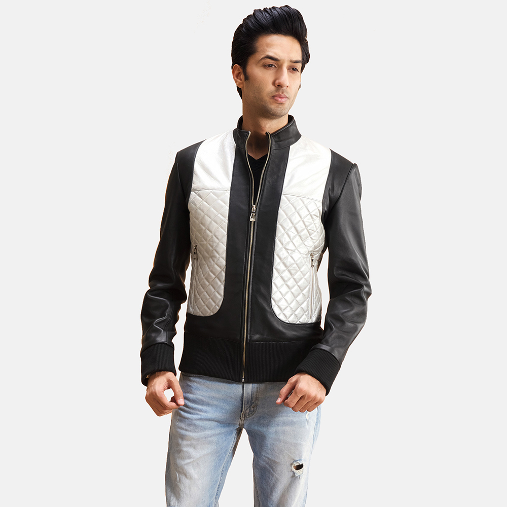 Mens Texan Silver Black Leather Bomber Jacket 2