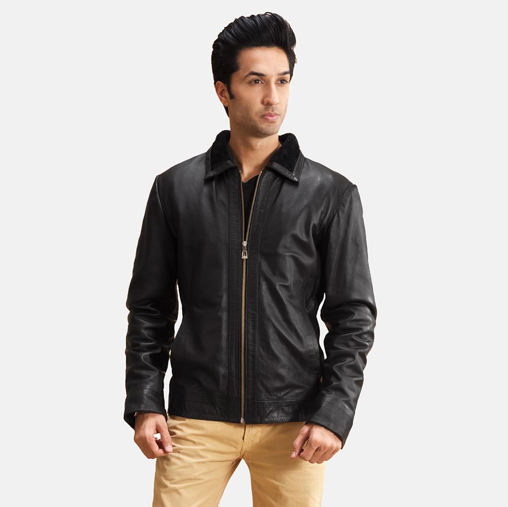 Mens Thackery Black Leather Jacket 1