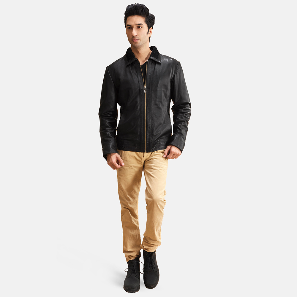 Mens Thackery Black Leather Jacket 2