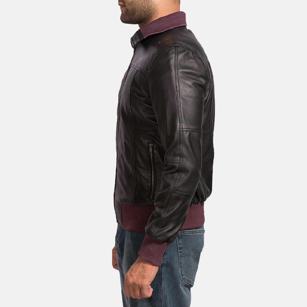 Mens Upscale Black Leather Bomber Jacket 3