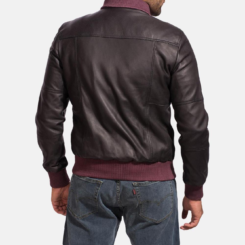 Mens Upscale Black Leather Bomber Jacket 4
