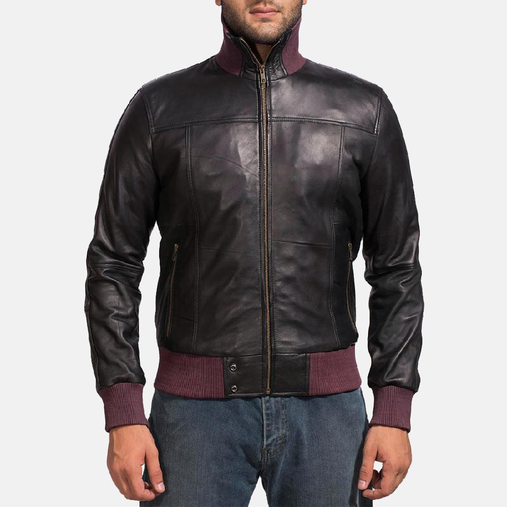 9c7a426e201 Mens Upscale Black Leather Bomber Jacket 1