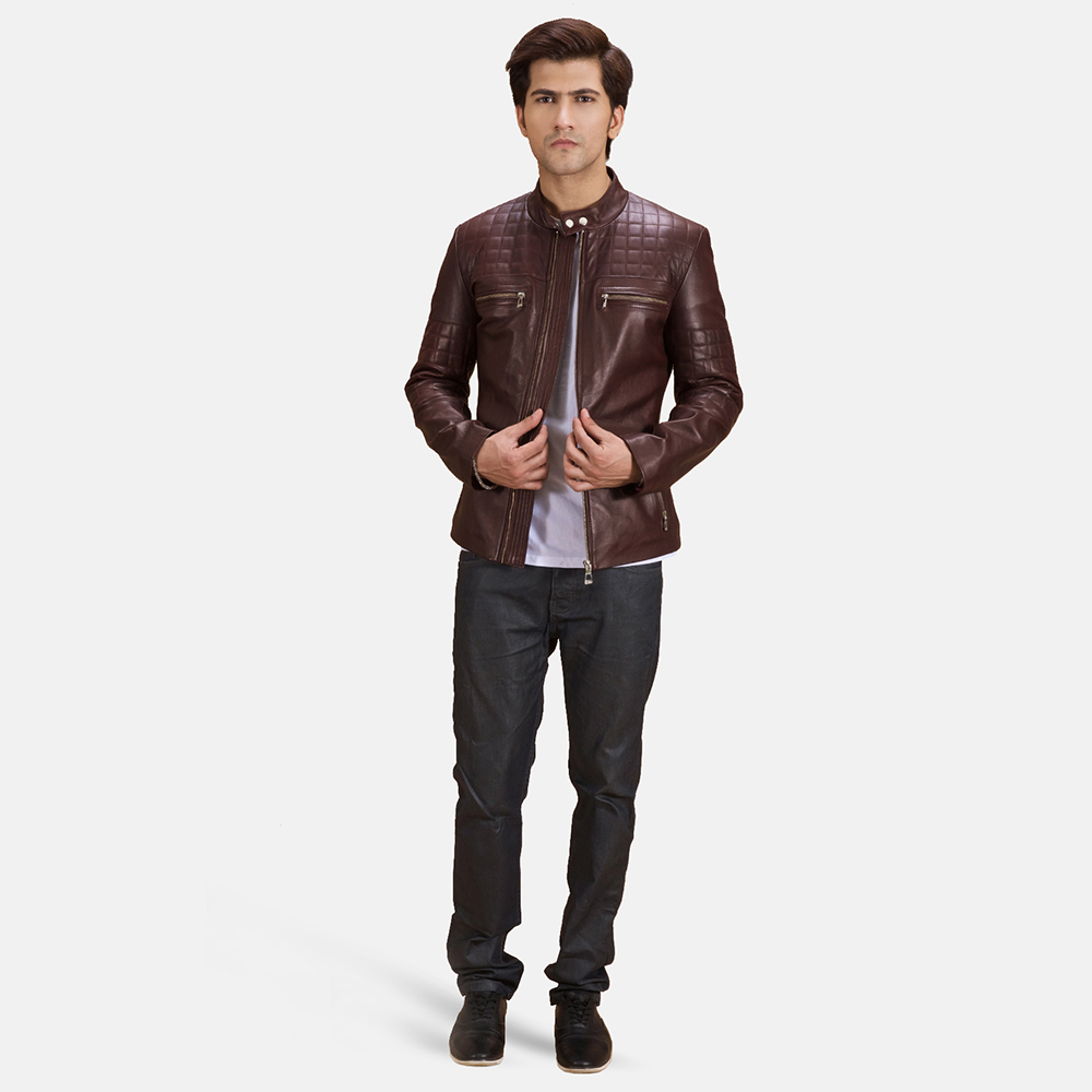 Mens Urbane Quilted Maroon Leather Biker Jacket 1