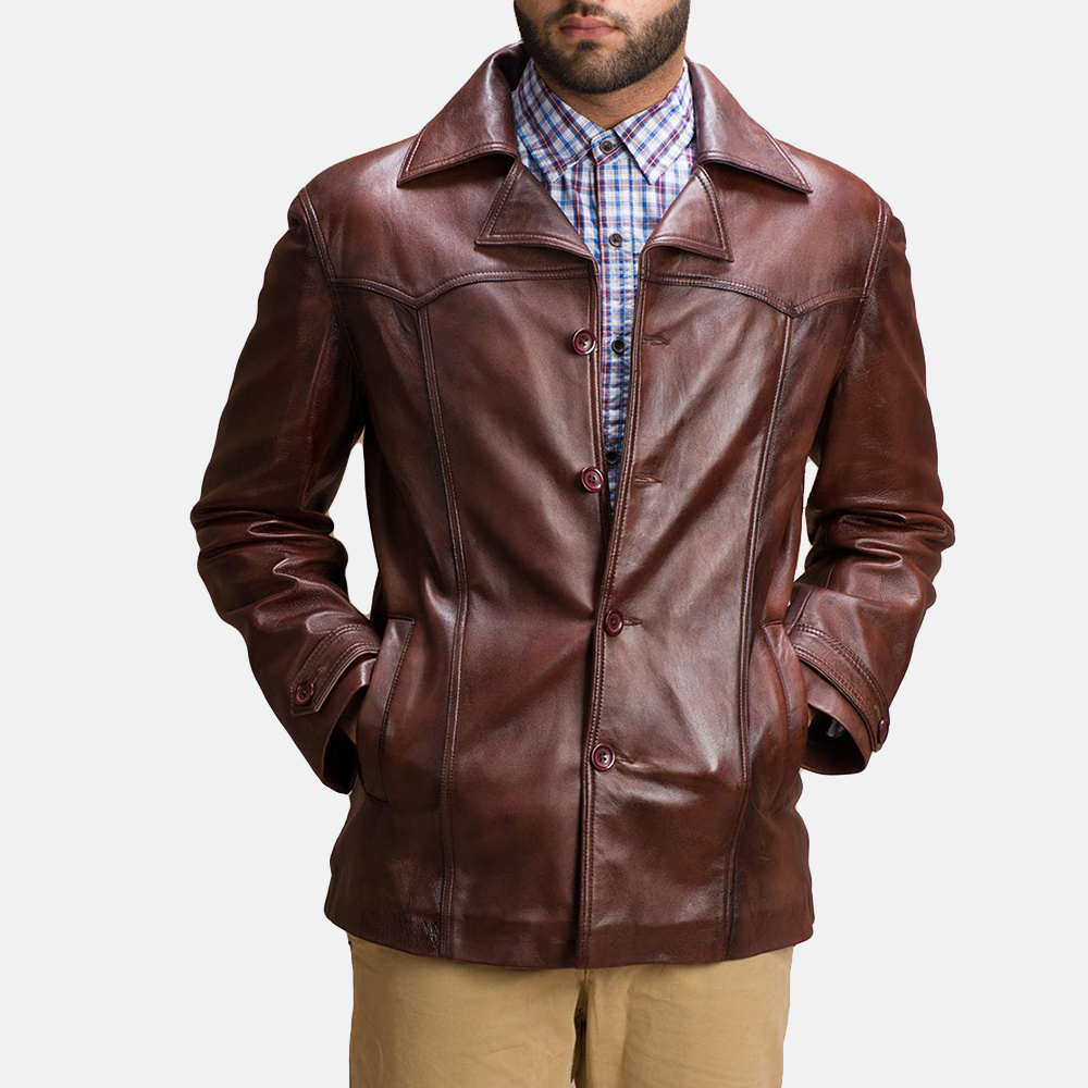 Mens Vincent Alley Brown Leather Jacket 2