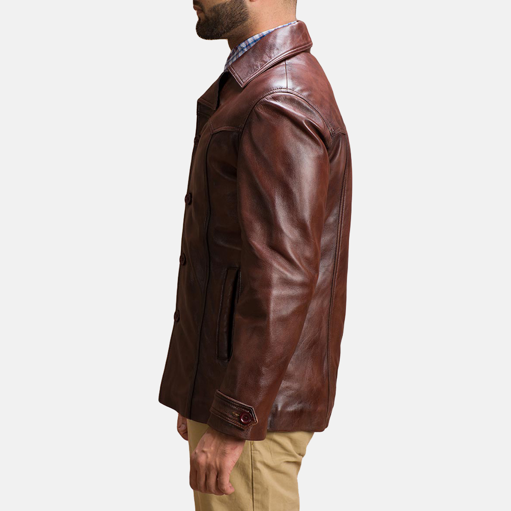 Mens Vincent Alley Brown Leather Jacket 4