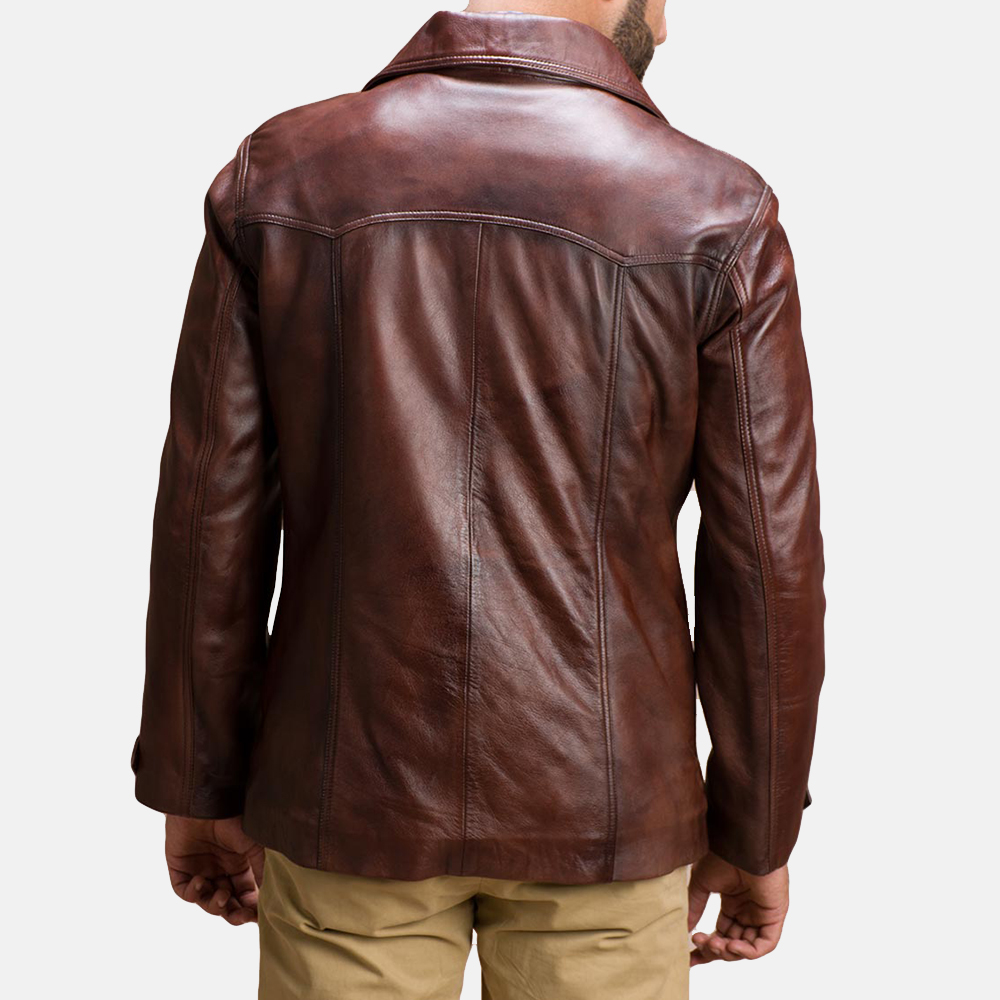 Mens Vincent Alley Brown Leather Jacket 5