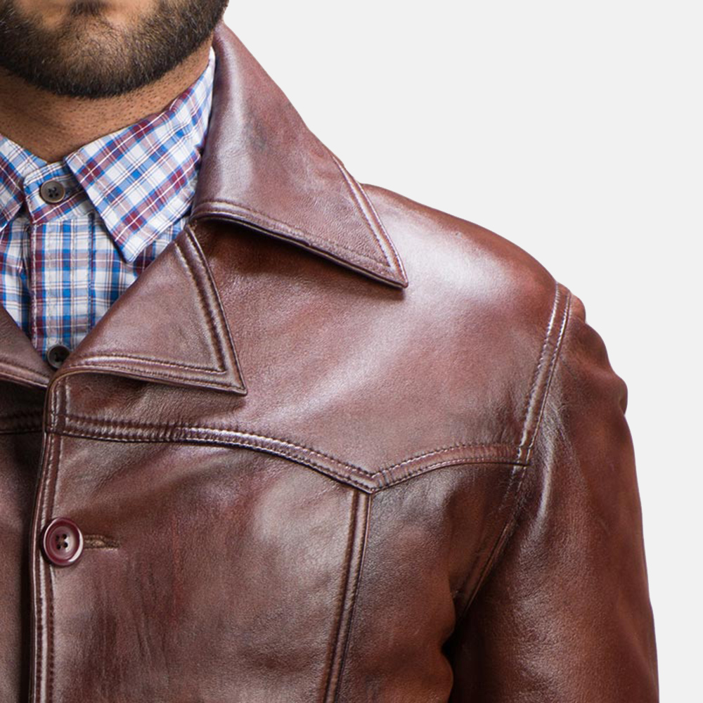Mens Vincent Alley Brown Leather Jacket 3