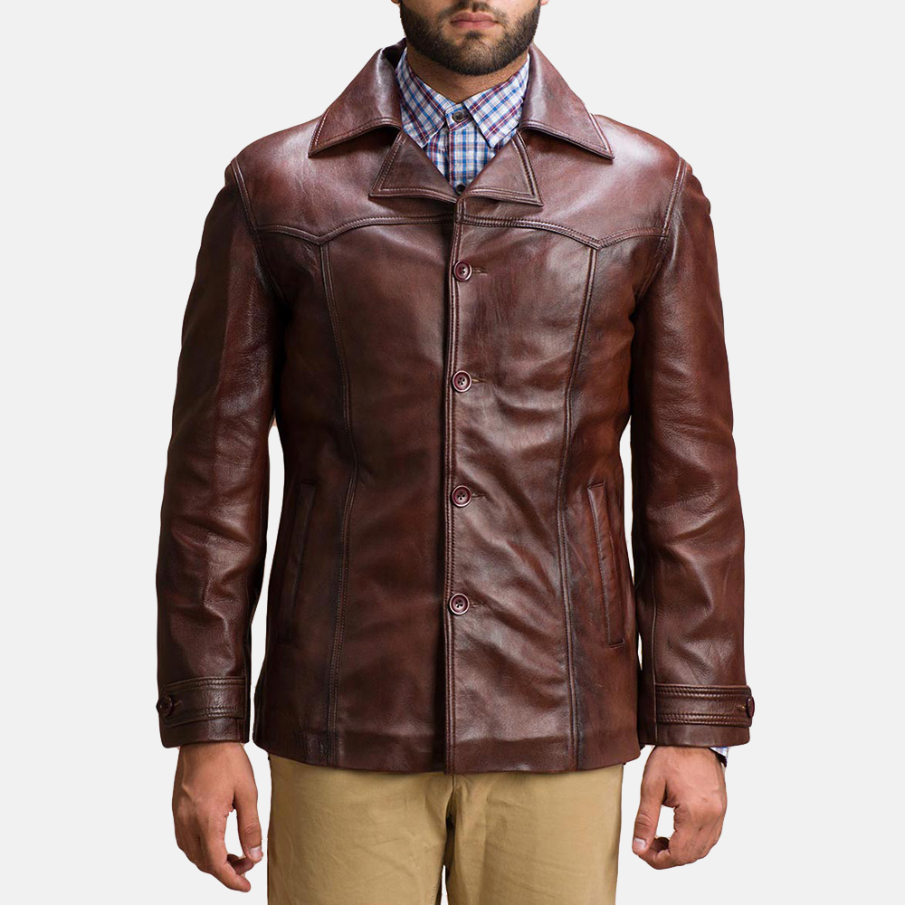 Mens Vincent Alley Brown Leather Jacket 1
