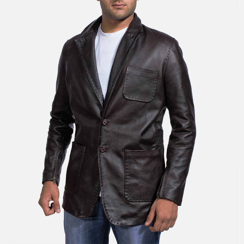 Mens Wine Black Leather Blazer 1