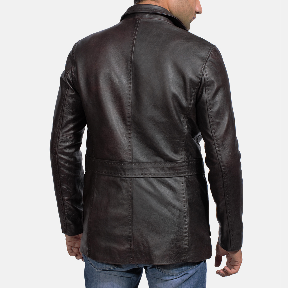 Mens Wine Black Leather Blazer 4
