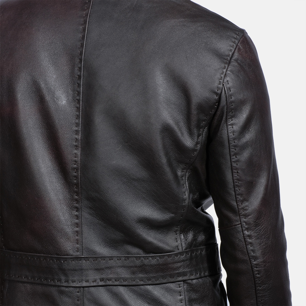 Mens Wine Black Leather Blazer 5