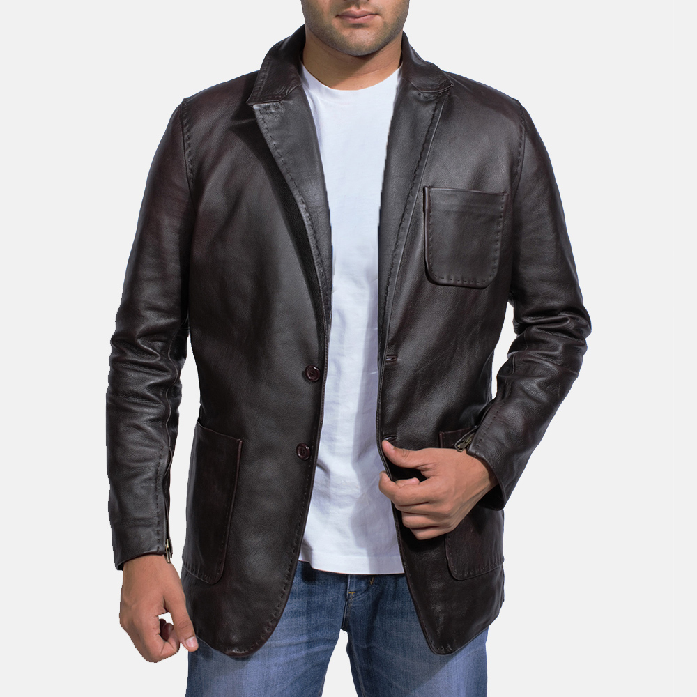 Mens Wine Black Leather Blazer 2
