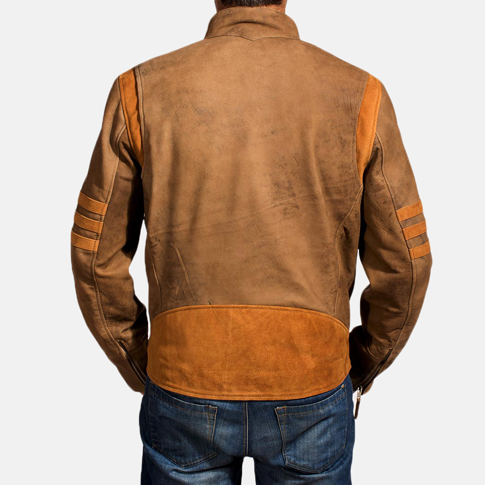 Mens Wolf Brown Leather Jacket 4