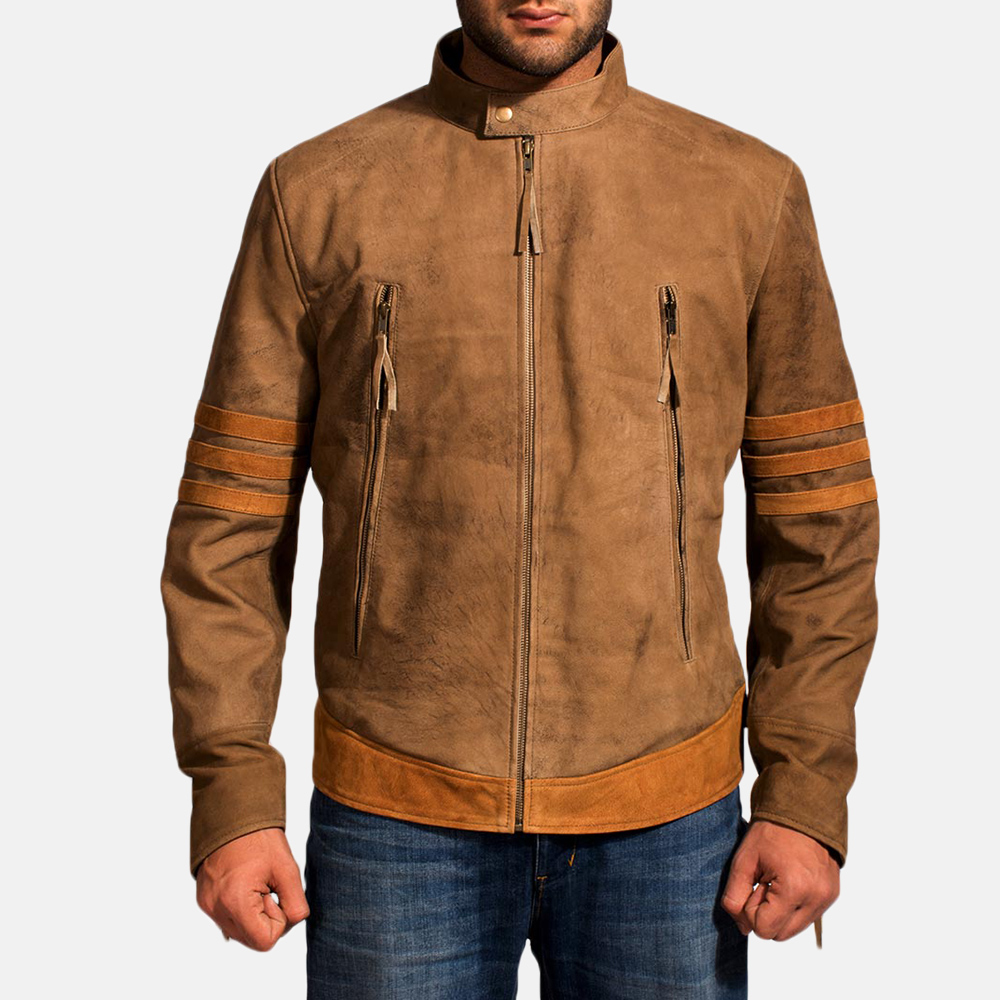 Mens Wolf Brown Leather Jacket 2
