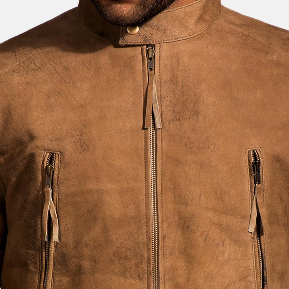 Mens Wolf Brown Leather Jacket 5