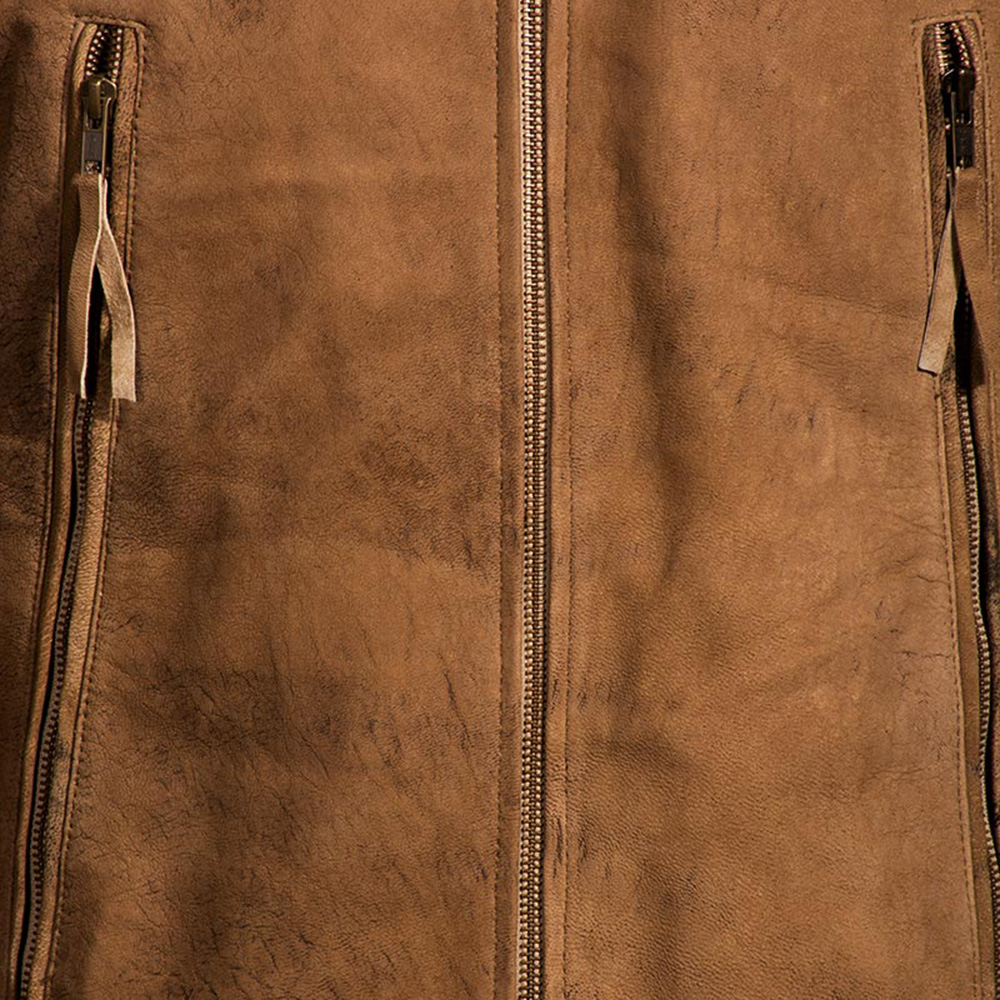 Mens Wolf Brown Leather Jacket 6