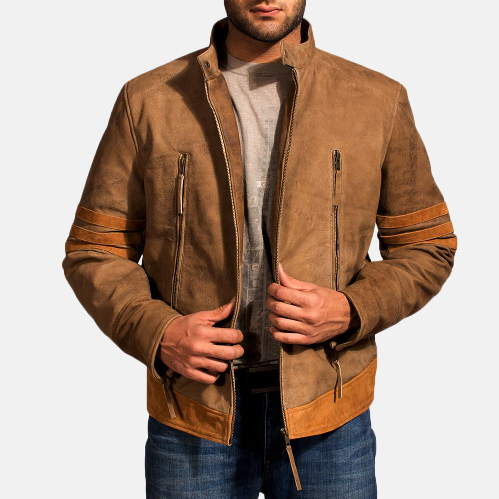 Mens Wolf Brown Leather Jacket 1