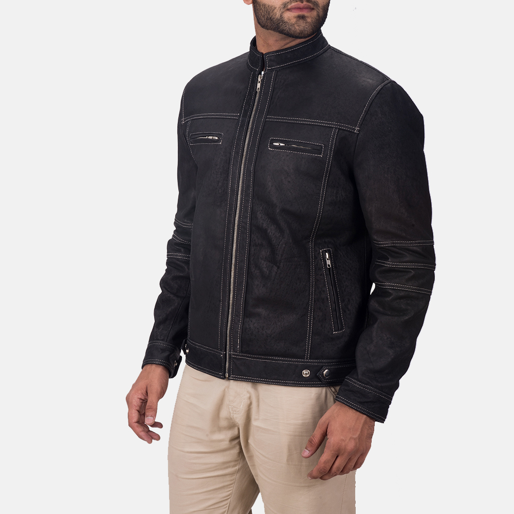 Mens Youngster Black Leather Jacket 2