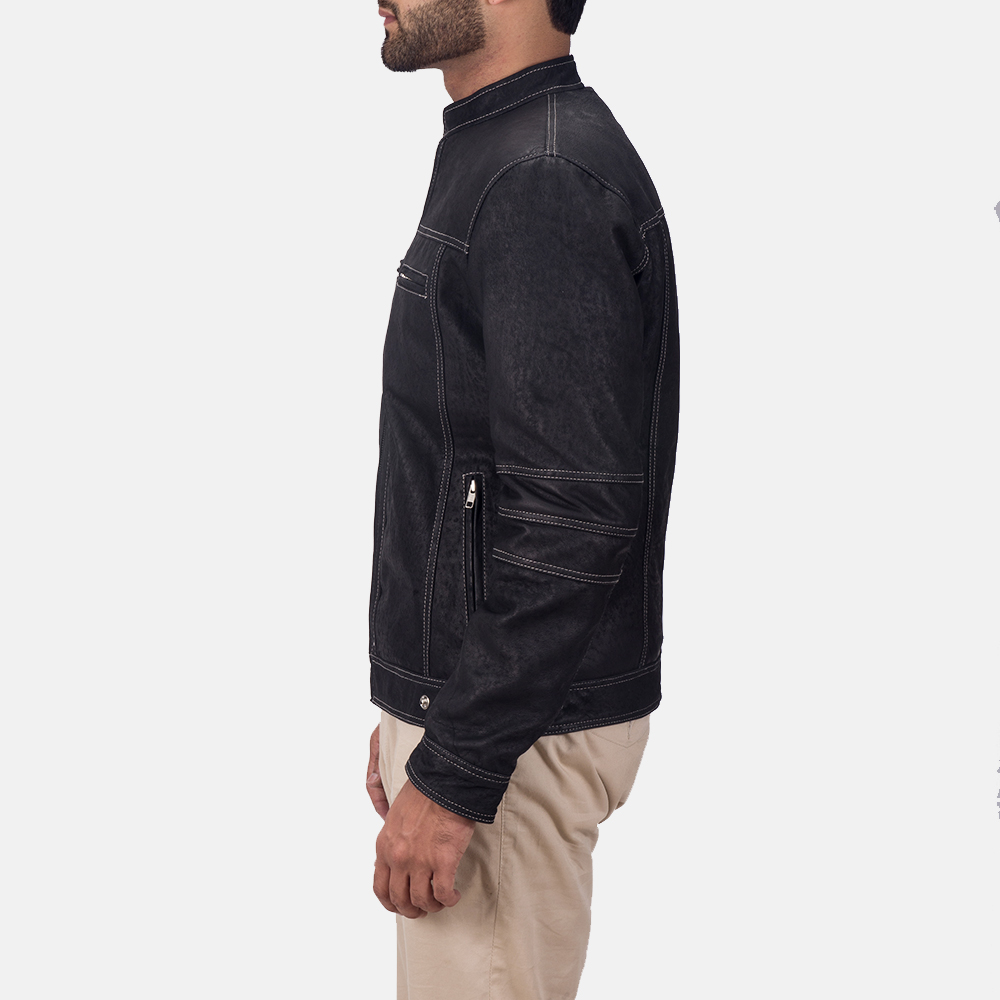 Mens Youngster Black Leather Jacket 4