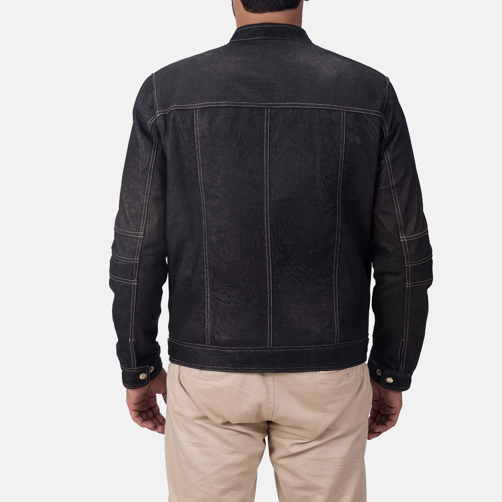 Mens Youngster Black Leather Jacket 5
