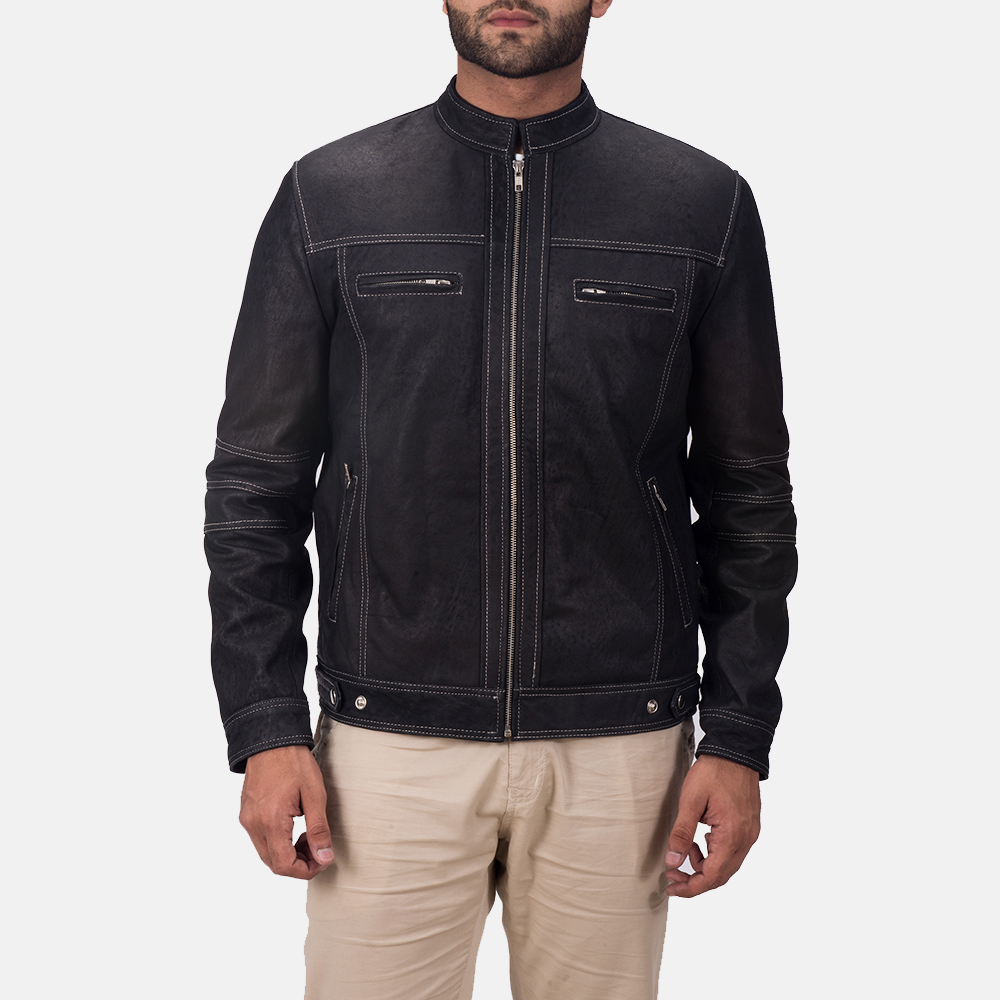 Mens Youngster Black Leather Jacket 1