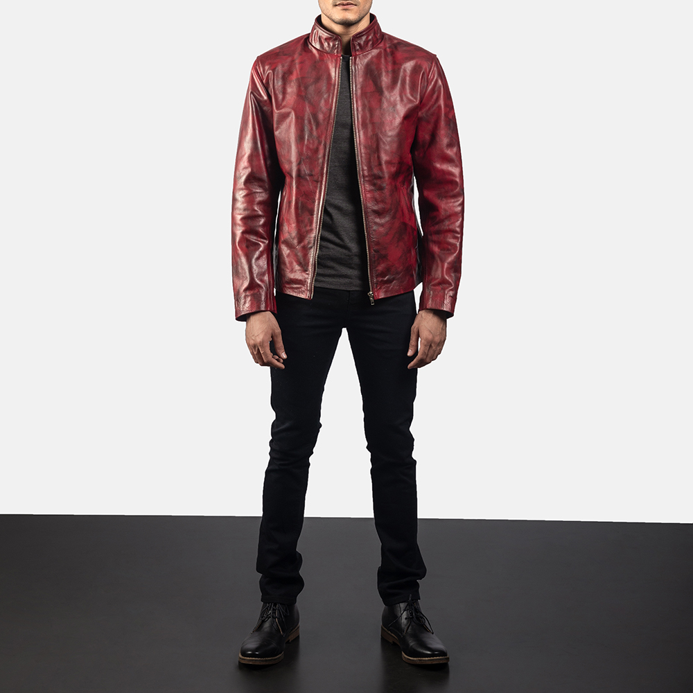 Mens Alex Distressed Burgundy Leather Jacket 5