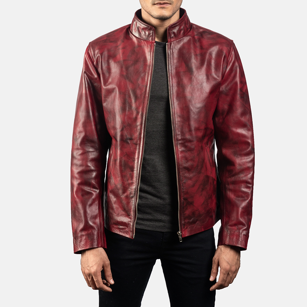 Mens Alex Distressed Burgundy Leather Jacket 1