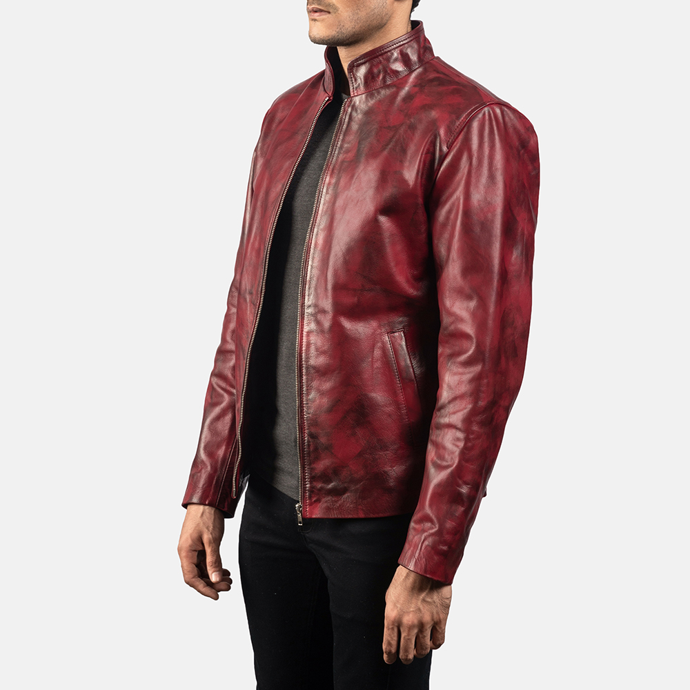 Mens Alex Distressed Burgundy Leather Jacket 2