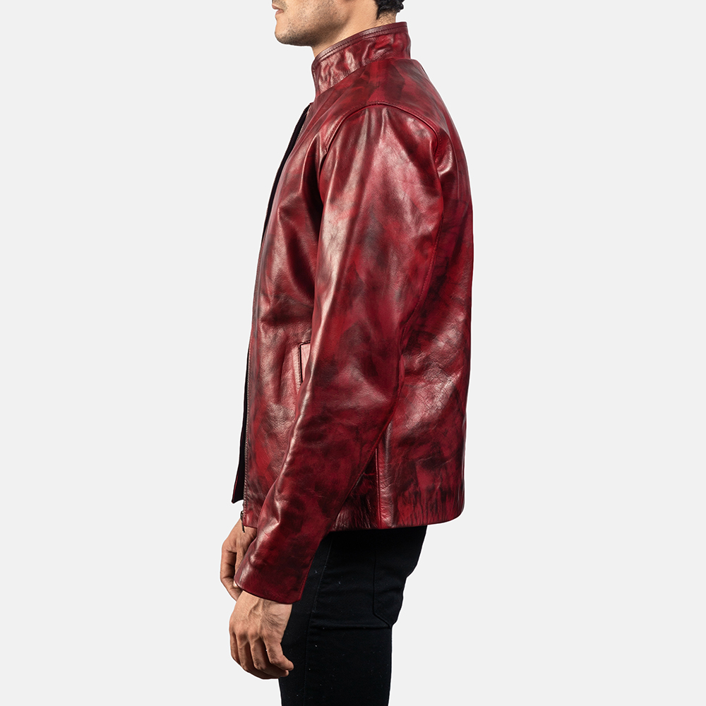 Mens Alex Distressed Burgundy Leather Jacket 3