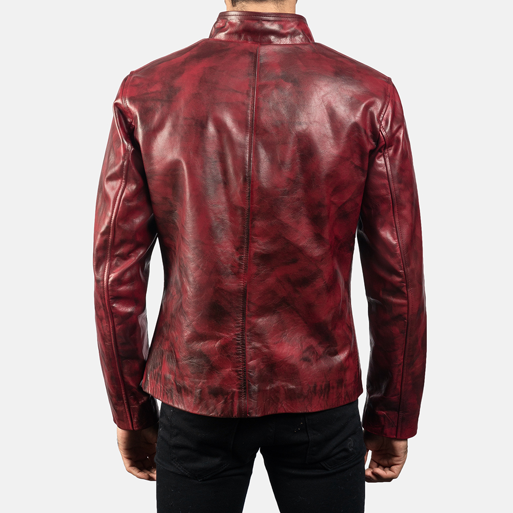 Mens Alex Distressed Burgundy Leather Jacket 4