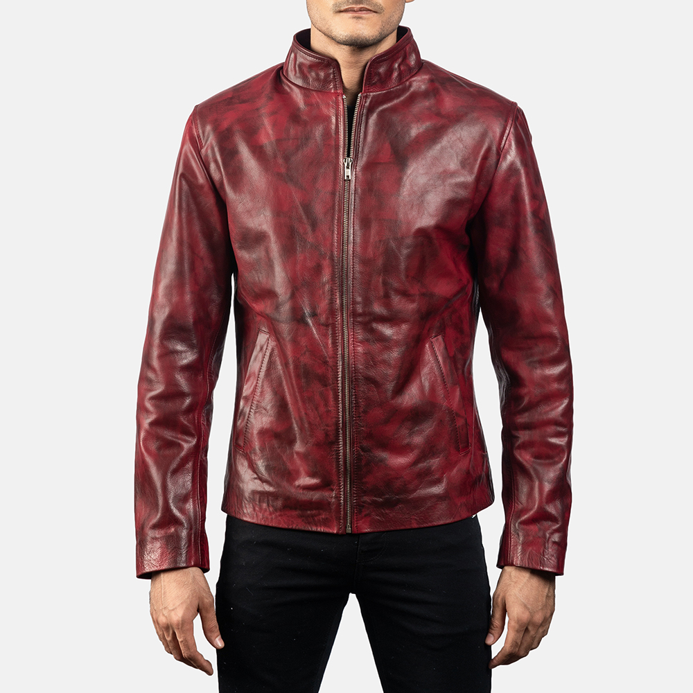 Mens Alex Distressed Burgundy Leather Jacket 6