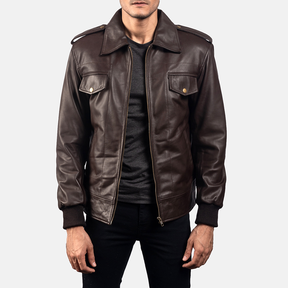 Mens Chocolate Rumble Leather Bomber Jacket 1