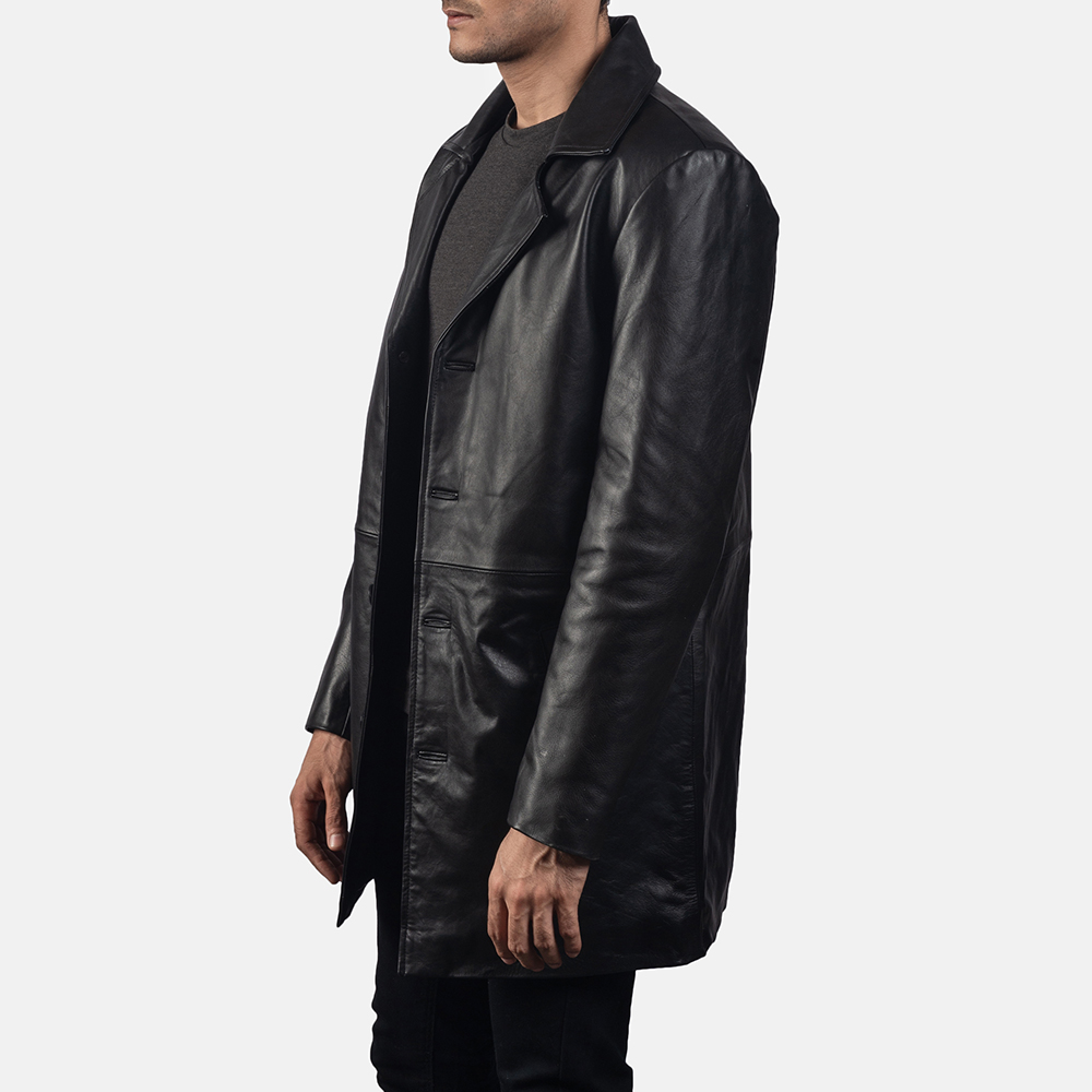 Mens Classmith Black Leather Coat 2