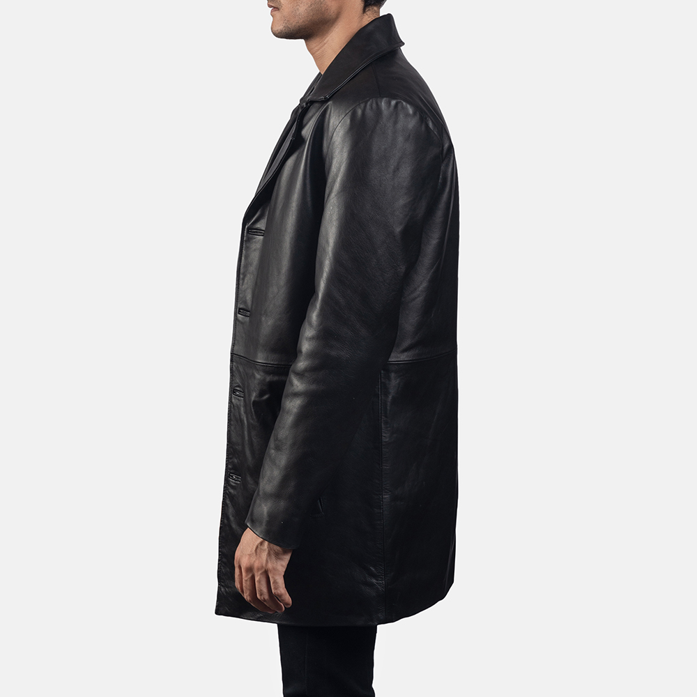 Mens Classmith Black Leather Coat 3