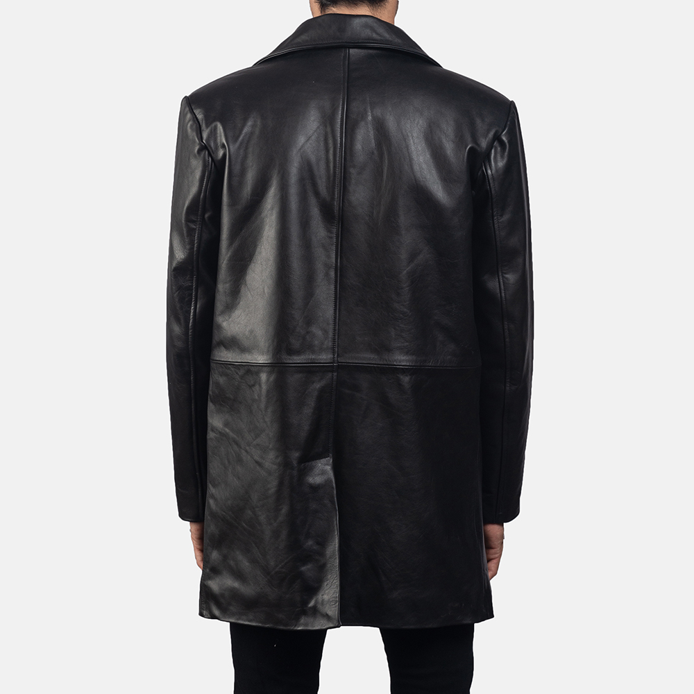 Mens Classmith Black Leather Coat 4