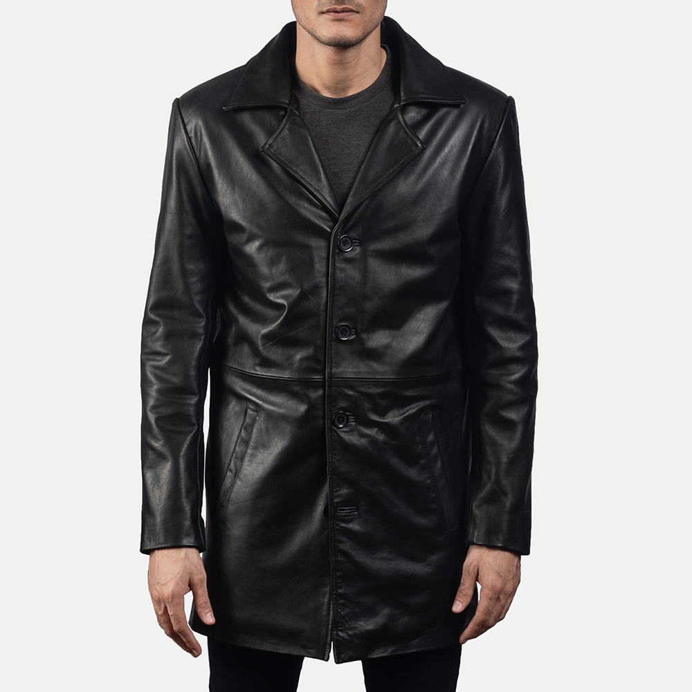 Mens Classmith Black Leather Coat 5