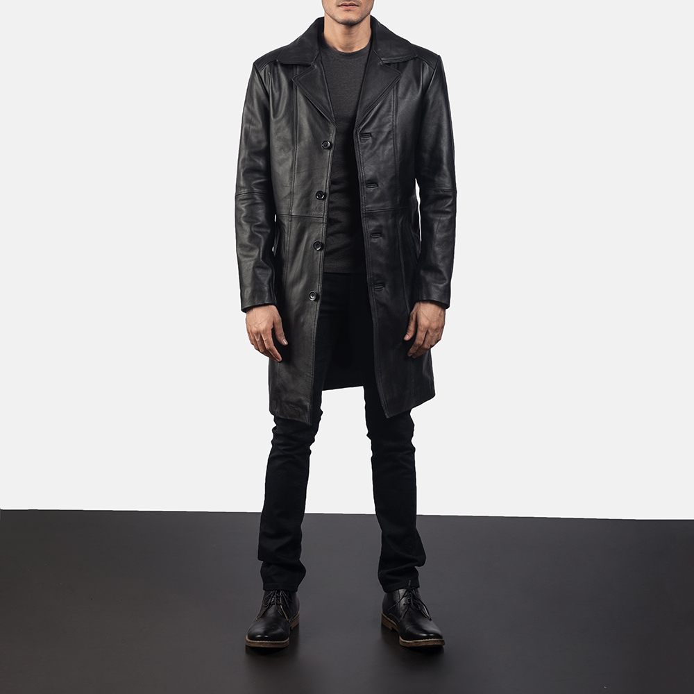 Mens Don Long Black Leather Coat 6