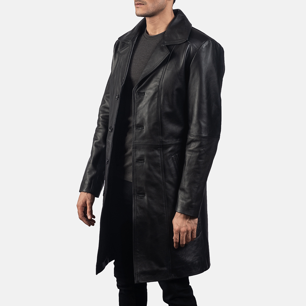 Mens Don Long Black Leather Coat 2