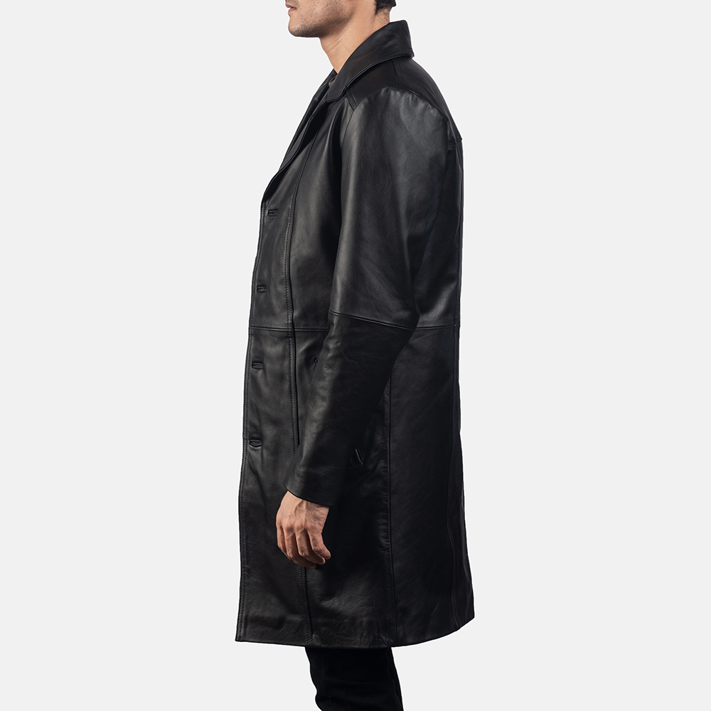 Mens Don Long Black Leather Coat 3